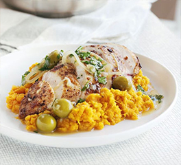 Moroccan chicken with sweet potato mash1